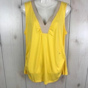 NWT NY&Co Yellow V-Neck Sleeveless Blouse